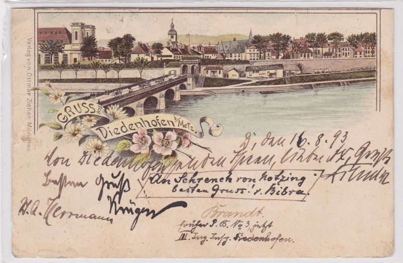 91821 Vorläufer Ak Lithographie Gruß aus Diedenhofen bei Metz 1893
