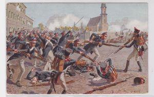 92444 Militär Künstler Merte AK Völkerschlacht bei Leipzig, Schlachtszenerie