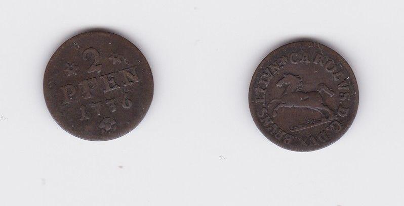 2 Pfennig Kupfer Münze Braunschweig-Wolfenbüttel 1736 (126646)