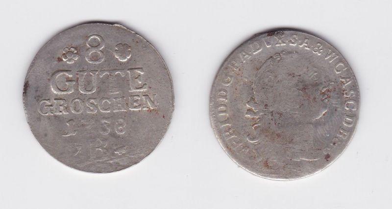 8 Gute Groschen Silber Münze Anhalt-Bernburg Kriegsgeld 1758 B (127200)