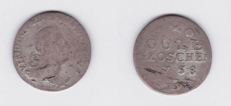 8 Gute Groschen Silber Münze Anhalt-Bernburg Kriegsgeld 1758 B (127190)