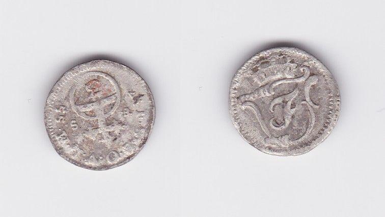 3 Pfennige Billon Münze Sachsen Weimar Eisenach 1755 F.S. (126649)