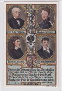 80924 Künstler AK Portrait Uhland, Körner, Rückert & von Schenkendorf um 1910