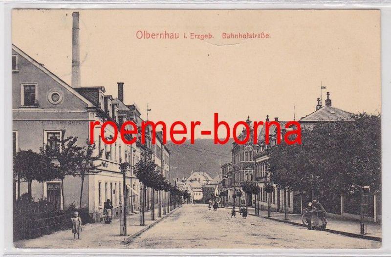 85672 Ak Olbernhau im Erzgebirge Bahnhofstrasse 1916