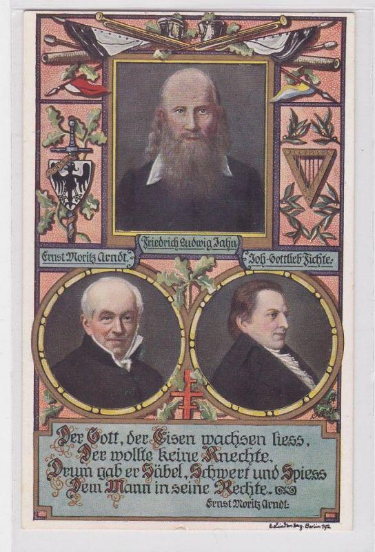 33908 Künstler AK Portrait Friedrich L. Jahn, Ernst M. Arndt & Johann G. Fichte
