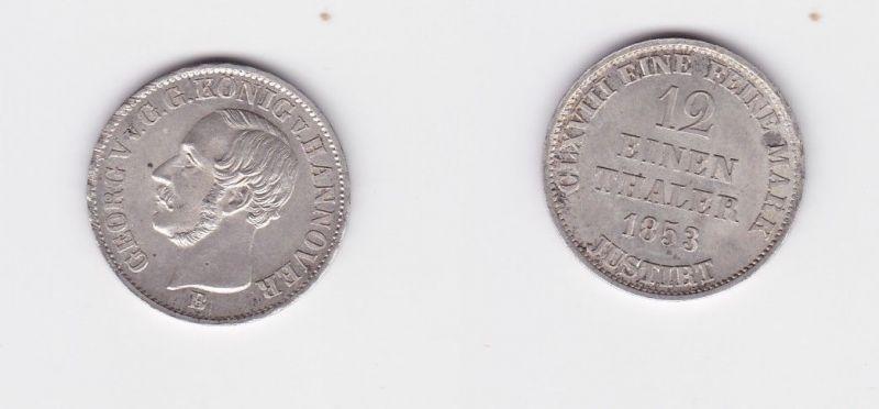 1/12 Taler Silber Münze Hannover Georg V. 1853 B (126645)