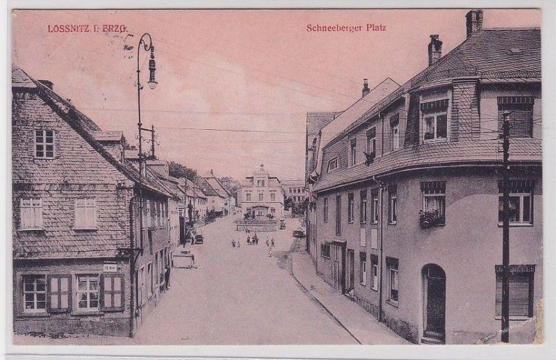 80410 Ak Lössnitz im Erzgebirge Schneeberger Platz 1916