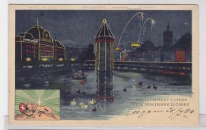 91926 Ak Lithographie Seenachtfest Luzern 1906
