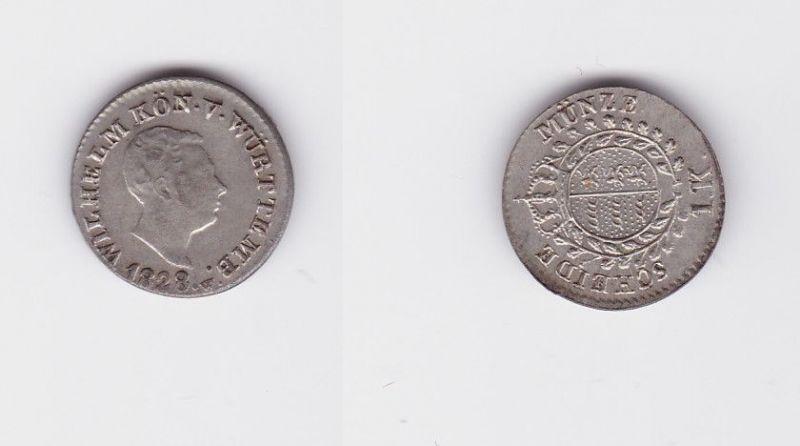 1 Kreuzer Silber Münze Württemberg 1828 (126648)