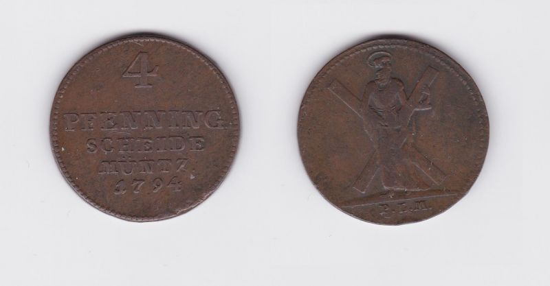 4 Pfennig Kupfer Münze Braunschweig Calenberg Hannover 1794 PLM (126647)