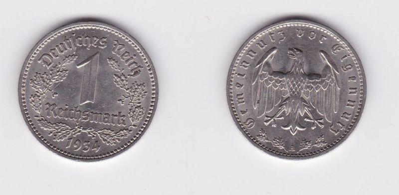 1 Mark Nickel Münze III.Reich 1934 A Jäger Nr. 354 (127176)