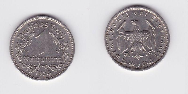 1 Mark Nickel Münze III.Reich 1934 F Jäger Nr. 354 (127027)