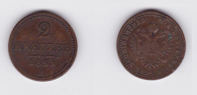 2 Kreuzer Kupfer Münze Österreich-Ungarn 1851 A (127128)