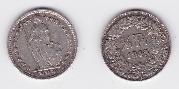 1/2 Franken Silber Münze Schweiz 1942 B (126982)