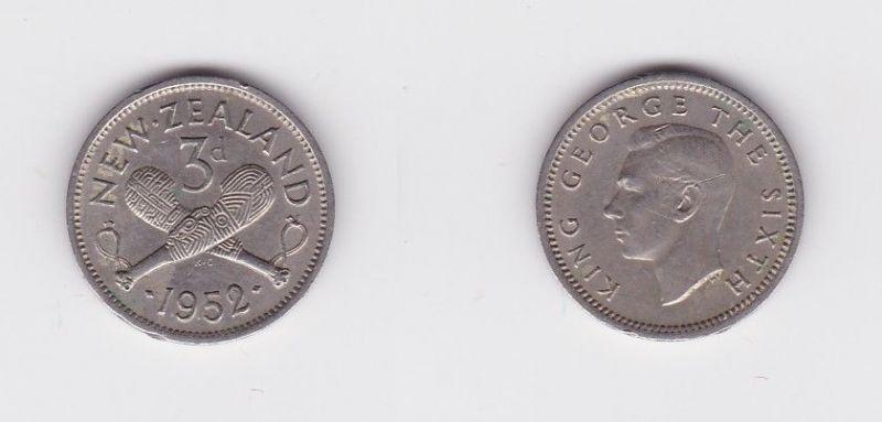 3 Pence Silber Münze Neuseeland gekreuzte Keulen, Georg VI. 1952 (127160)