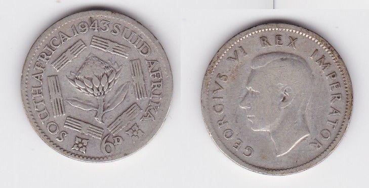 6 Pence Silber Münze Südafrika Blume, Georg VI. 1943 (127004)