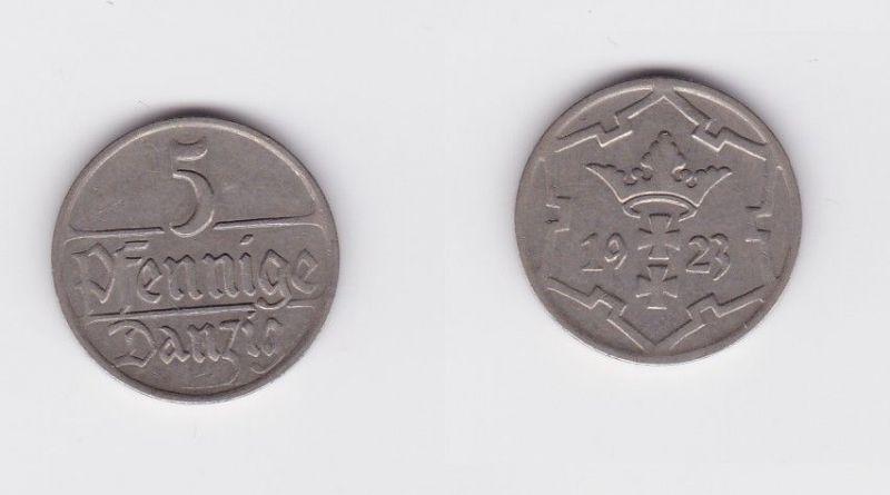 5 Pfennig Kupfer-Nickel Münze Freie Stadt Danzig 1923 (126857)