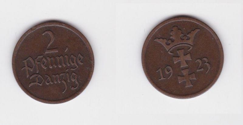 2 Pfennig Kupfer Münze Freie Stadt Danzig 1923 (127157)