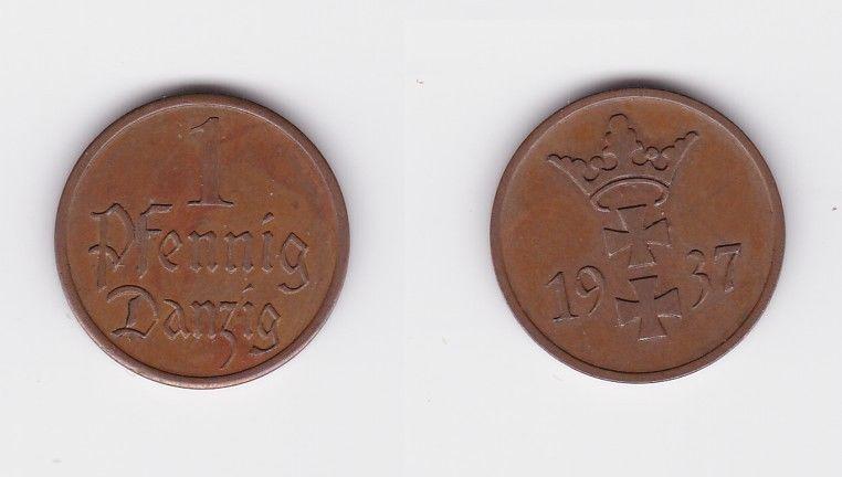 1 Pfennig Kupfer Münze Freie Stadt Danzig 1937 (126877)