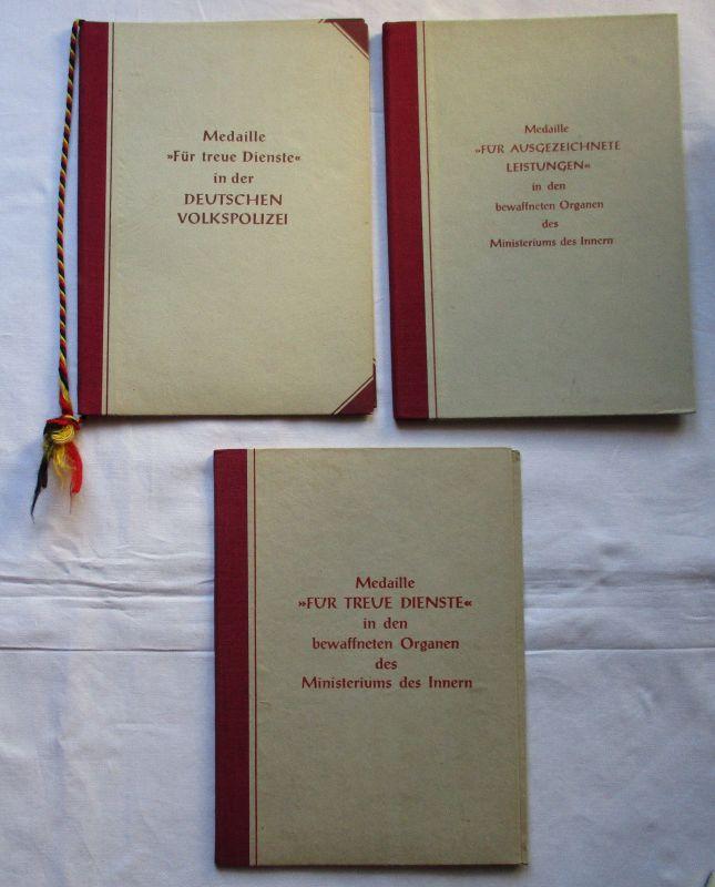 3 x DDR Urkunden und Treuedienstmedaillen des MdI 1955-1962 (126280)