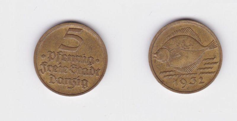5 Pfennig Messing Münze Danzig 1932 Flunder (127008)