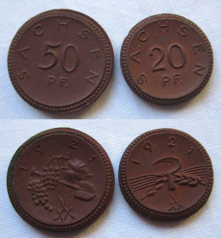 Porzellan Notgeld Münzen 20 und 50 Pfennig Sachsen 1921 (126350)