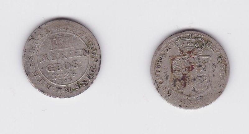 4 Mariengroschen Silber Münze Braunschweig-Calenberg-Hannover 1724 HCB (126644)