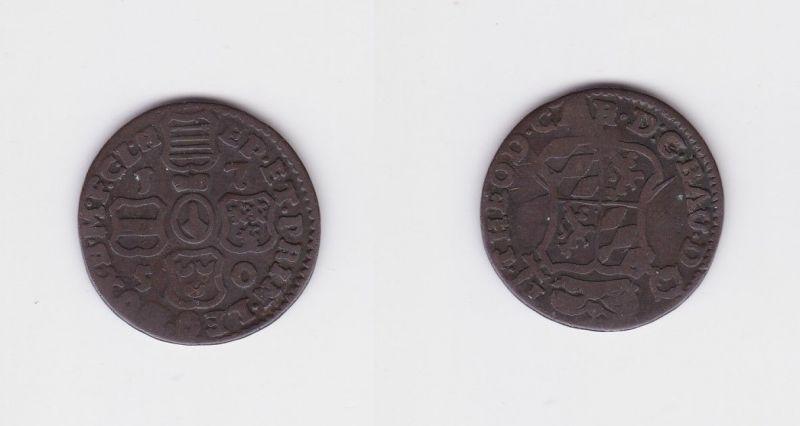 1 Liard Bronze Münze Bistum Lüttich Theodor von Bayern 1750 (126650)