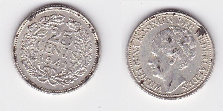 25 Cents Silber Münze Niederlande 1941 (126721)