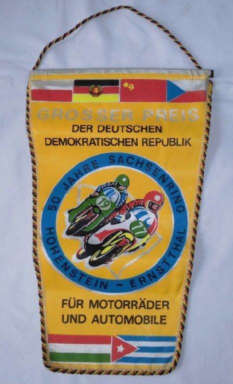 Seltener Wimpel Grosser Preis der DDR 50 Jahre Sachsenring 1977 (120560)