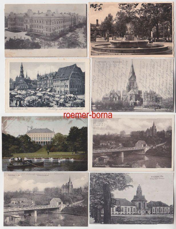 23663 / 8 Ak Zwickau Paradiesbrücke Landgericht Markttag usw. um 1920