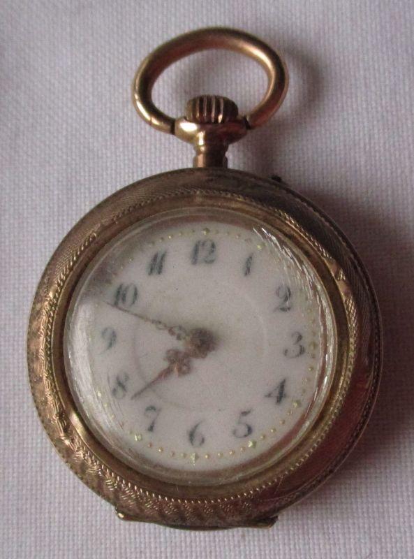 Schöne Jugendstil Damen Taschenuhr Gold um 1910 (117663)