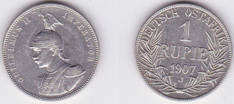 1 Rupie Silber Münze Deutsch Ost Afrika 1907 J (123373)