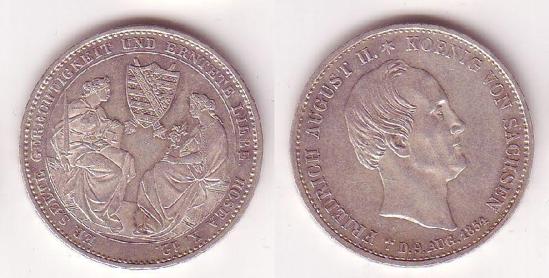 1 Ausbeutetaler Silber Muenze Sterbetaler Friedrich August II. 1854 (105249)