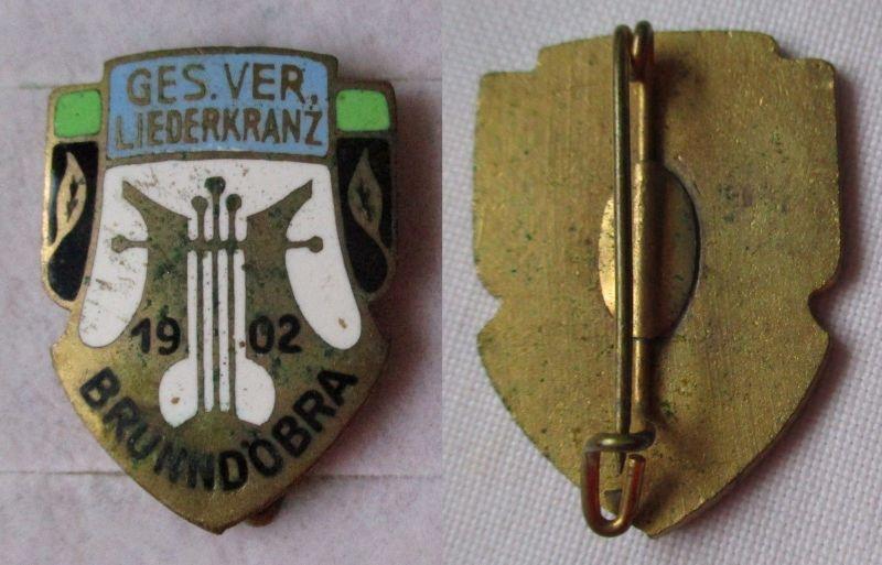Emailliertes Abzeichen Ges.Ver. Gesangsverein Liederkranz Brundöbra 1902 /119851