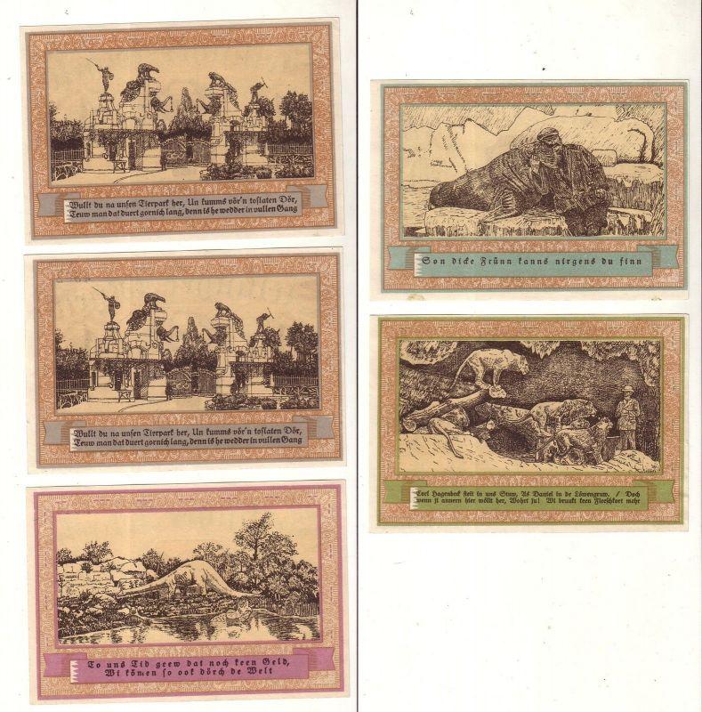 5 Banknoten Notgeld Gemeinde Stellingen Tierparkserie 1920 (110309)