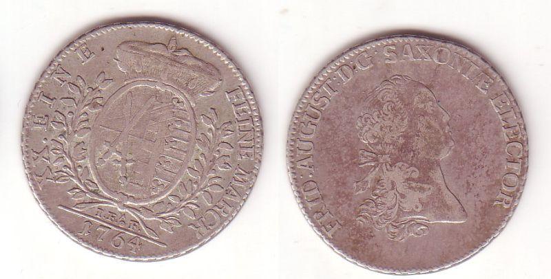 2/3 Taler Silber Muenze Sachsen 1764 IFoF (104881)