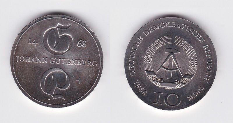 DDR Gedenk Silber Münze 10 Mark Johann Gutenberg 1968 (104929)