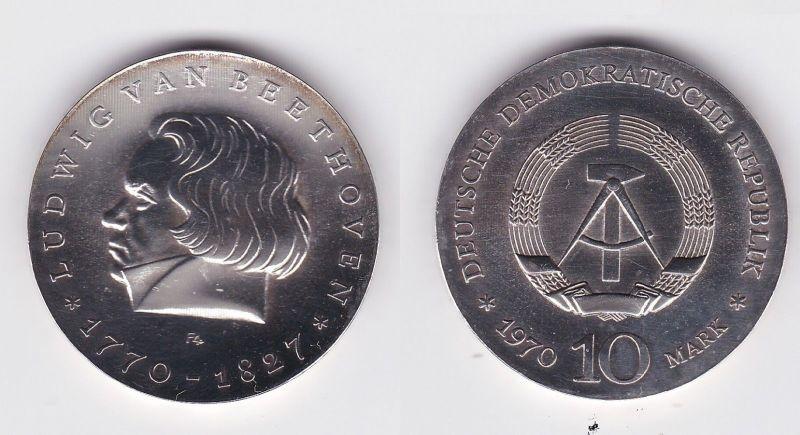 DDR Gedenk Silber Münze 10 Mark Ludwig van Beethoven 1970 (108586)