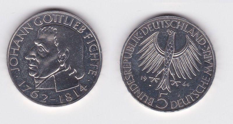 5 Mark Silber Münze Deutschland Johann Gottlieb Fichte 1964 J (103203)