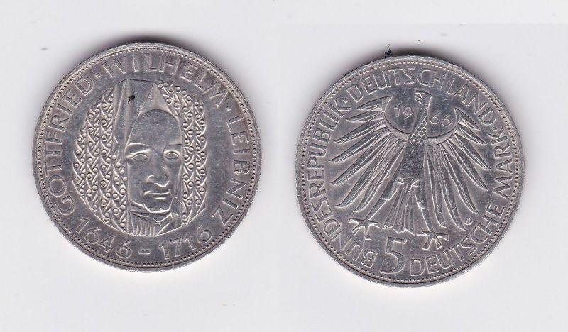 5 Mark Silber Münze Deutschland Gottfried Wilhelm Leibniz 1966 D (108290)