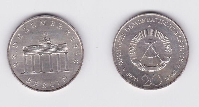 DDR Gedenk Silber Münze 20 Mark Brandenburger Tor 1990 (127373)