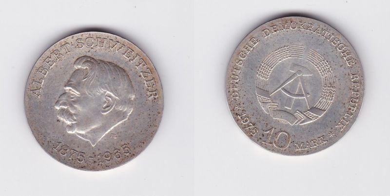 DDR Gedenk Silber Münze 10 Mark Albert Schweitzer 1975 (127378)