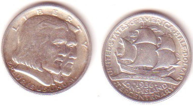 1/2 Dollar Silber Münze USA 1936 Long Island (MU0148)