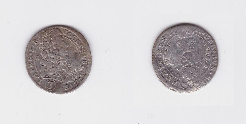 3 Kreuzer Silber Münze RDR Habsburg Österreich Joseph I. 1711 BW (127037)