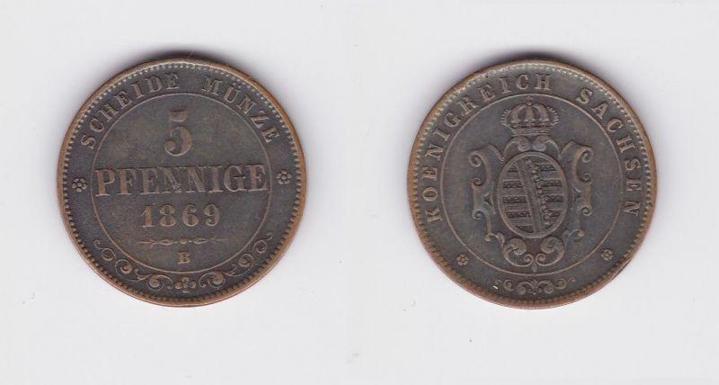 5 Pfennige Kupfer Münze Sachsen 1869 B (127393)