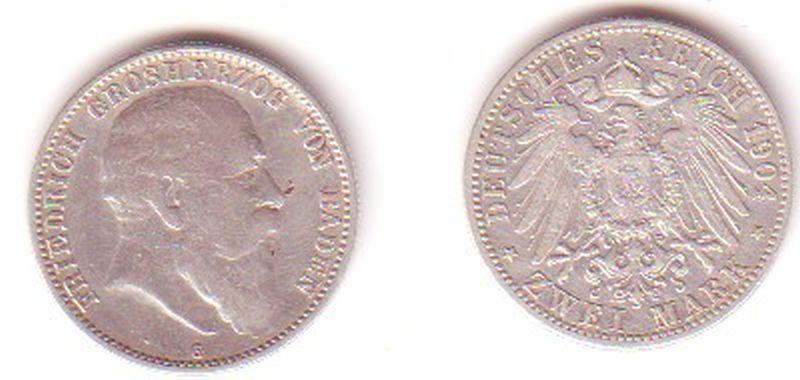 2 Mark Silber Münze Baden Großherzog Friedrich 1904 (MU0985)