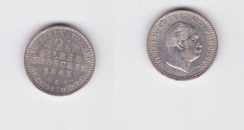 2 1/2 Silbergroschen Münze Preussen Wilhelm I. 1863 A (126846)