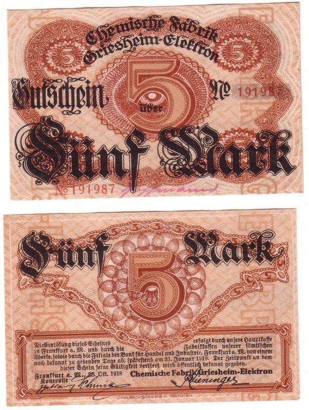 5 Mark Banknote Frankfurt a.M. Chemische Fabrik Griesheim Elektron 1918 (113111)