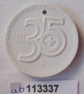 DDR Porzellan Medaille 35 Jahre Deutsches Rotes Kreuz 1952-1987 (113337)